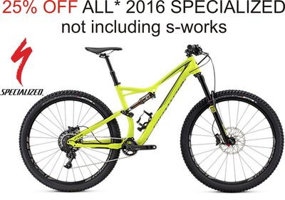 25% off 2016 Specialized bikes